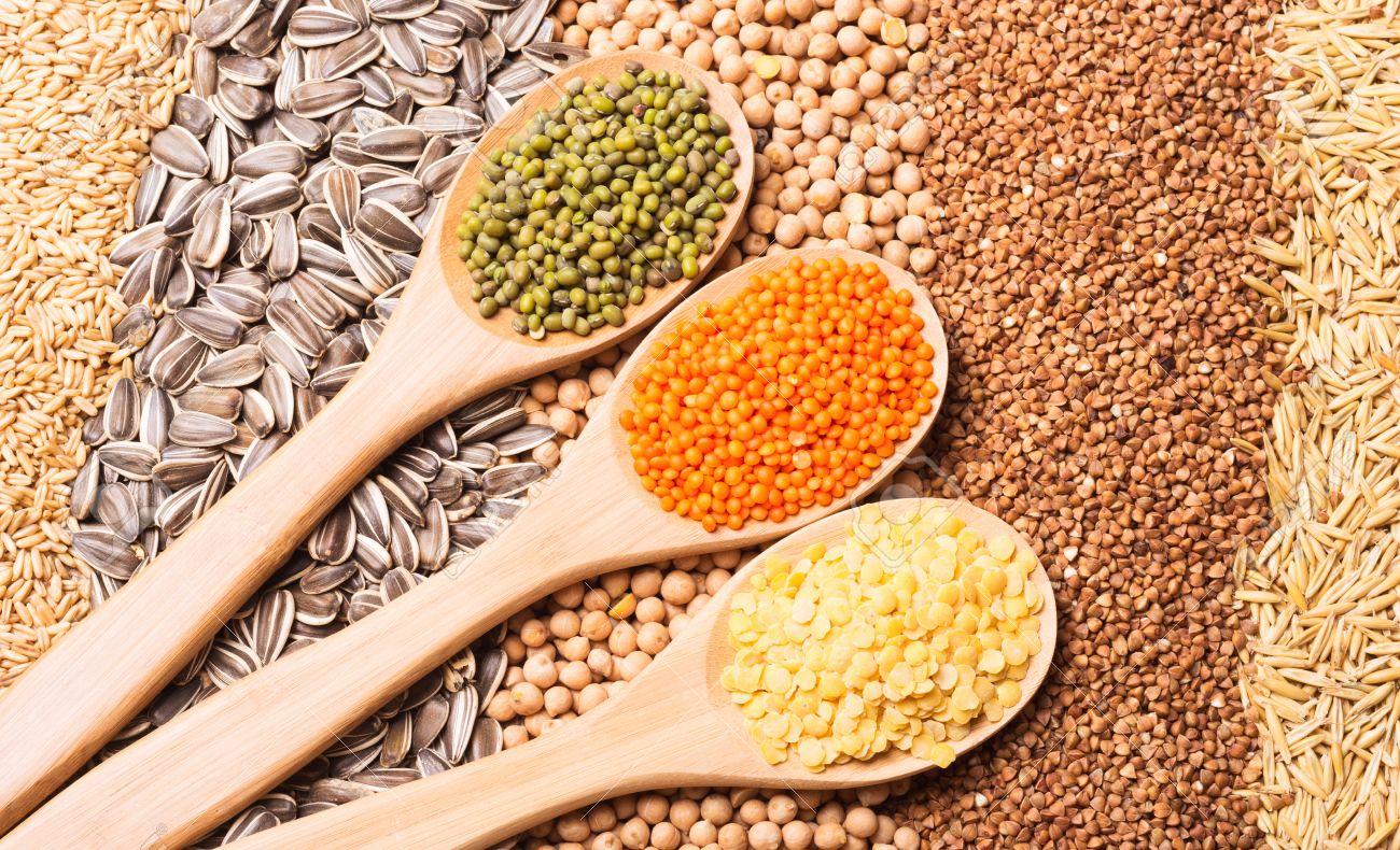Les Céréales, Les Graines, Les Lentilles, Les Haricots Sur Fond De ...