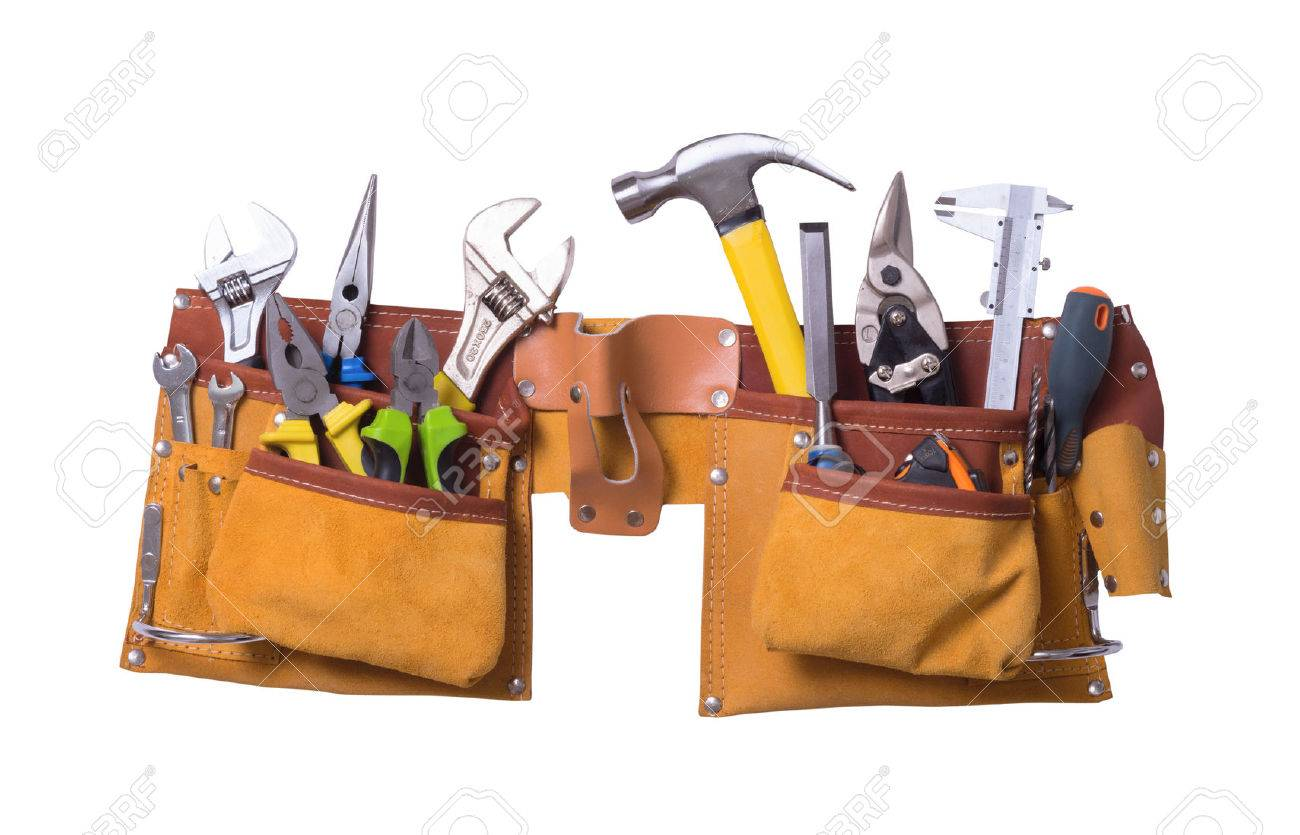 Tool belt with tools isolated on white background - 44588215