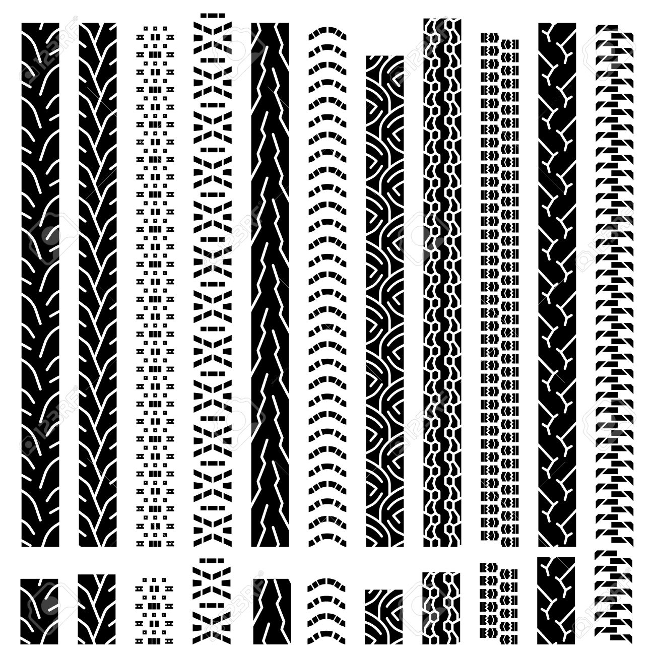 Collection textures of vector tire tracks, tire marks, tire tread, tread marks silhouette / pattern for machine and vehicle - 53919312