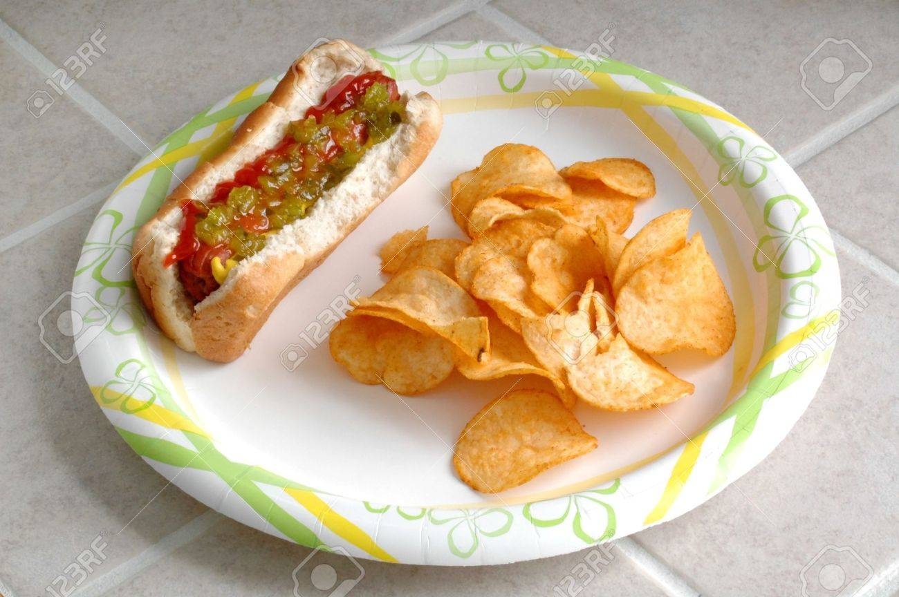 Hotdog and Chips on a Plate on the Counter - 712777