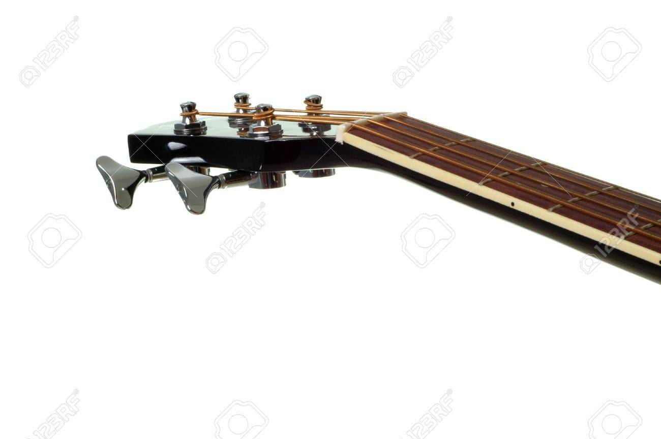 4 String Bass Guitar Neck Isolated on White - 834905