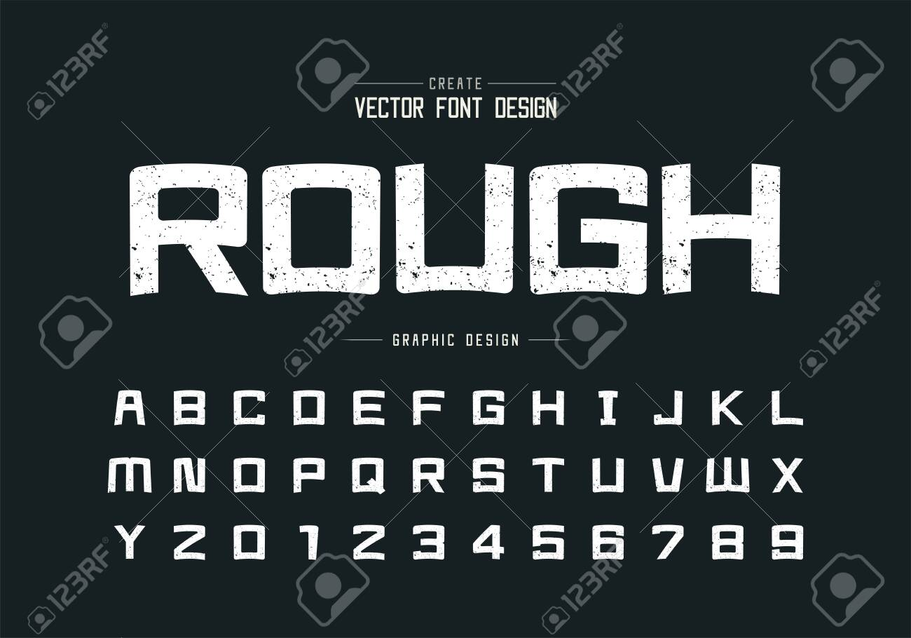 Texture font and cartoon alphabet vector, Rough square typeface letter and number design, Graphic text on background - 135623286