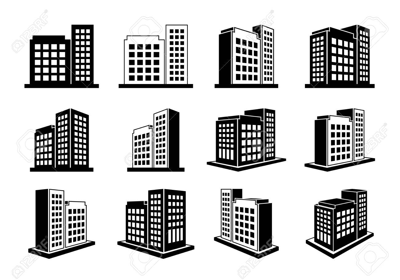 Building icons set and perspective company vector collection on white background, Black line hotel condo and apartment illustration, Isometric graphic bank and office silhouette - 141934203