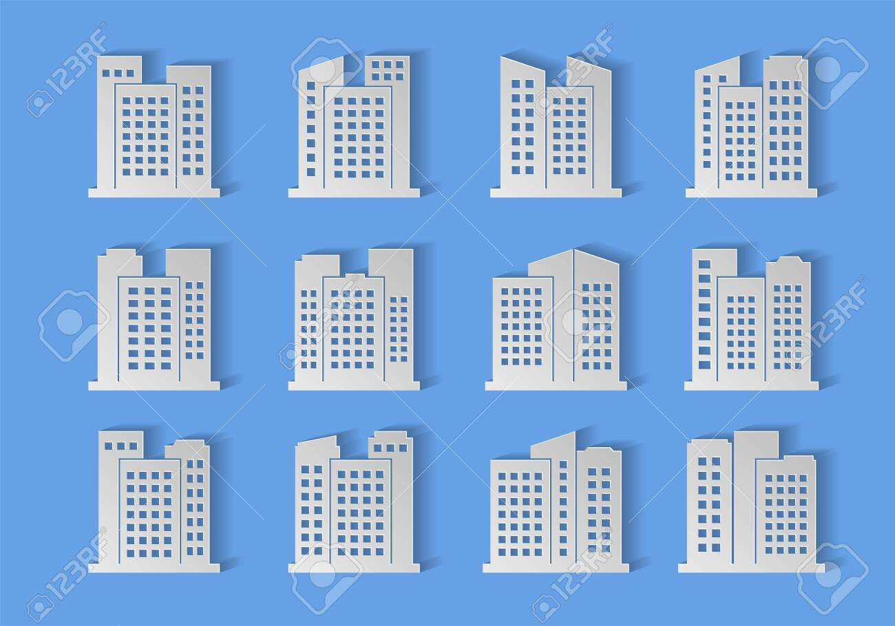 Paper cut buildings and bank set on background, Hand made origami company and office collection, Design modern architecture vector, Construction shadow concept illustration - 146061608