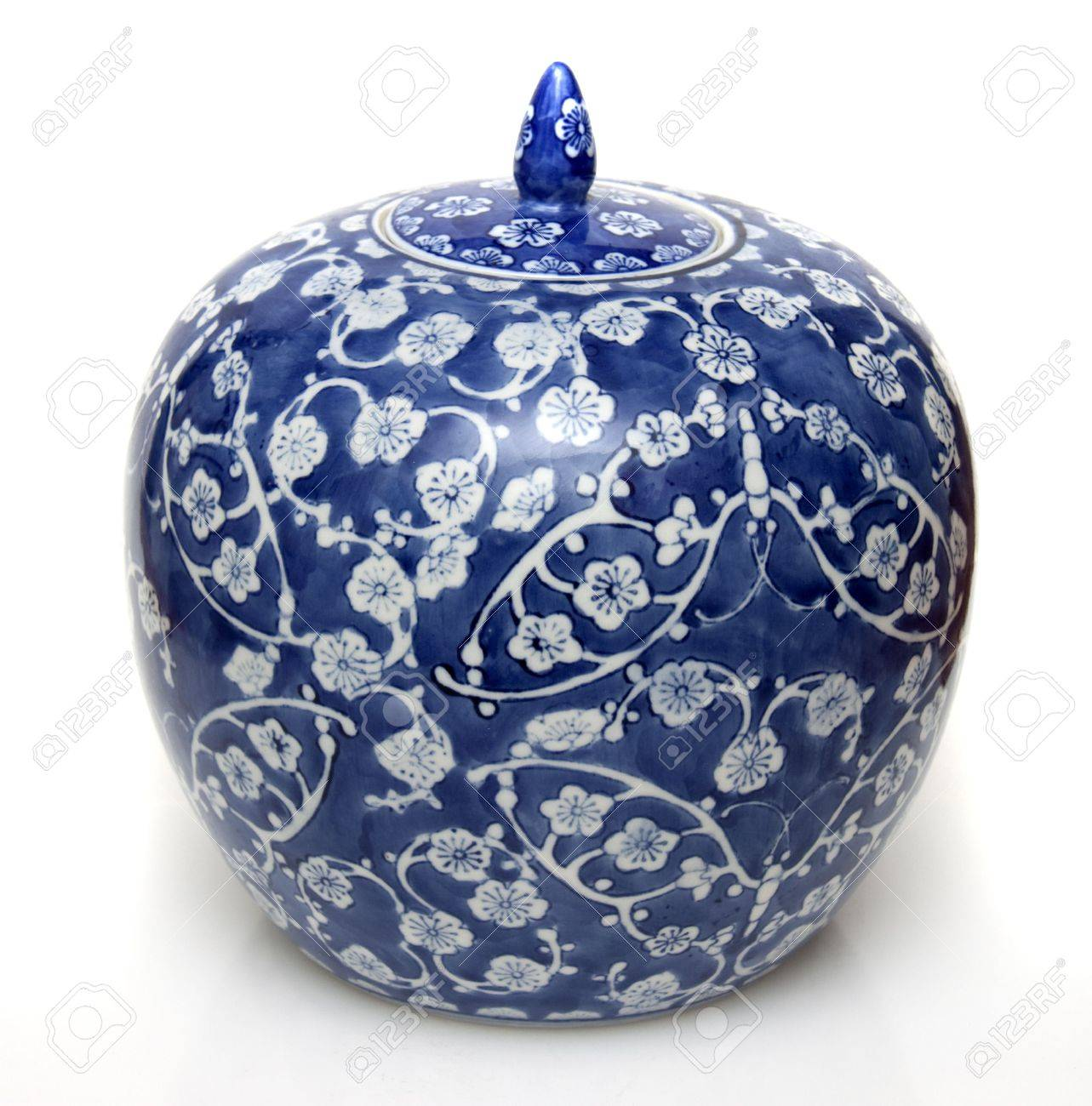 Blue Ginger Jar Part - 28: A Chinese Blue Ceramic Ginger Jar In Isolation Stock Photo - 7675085
