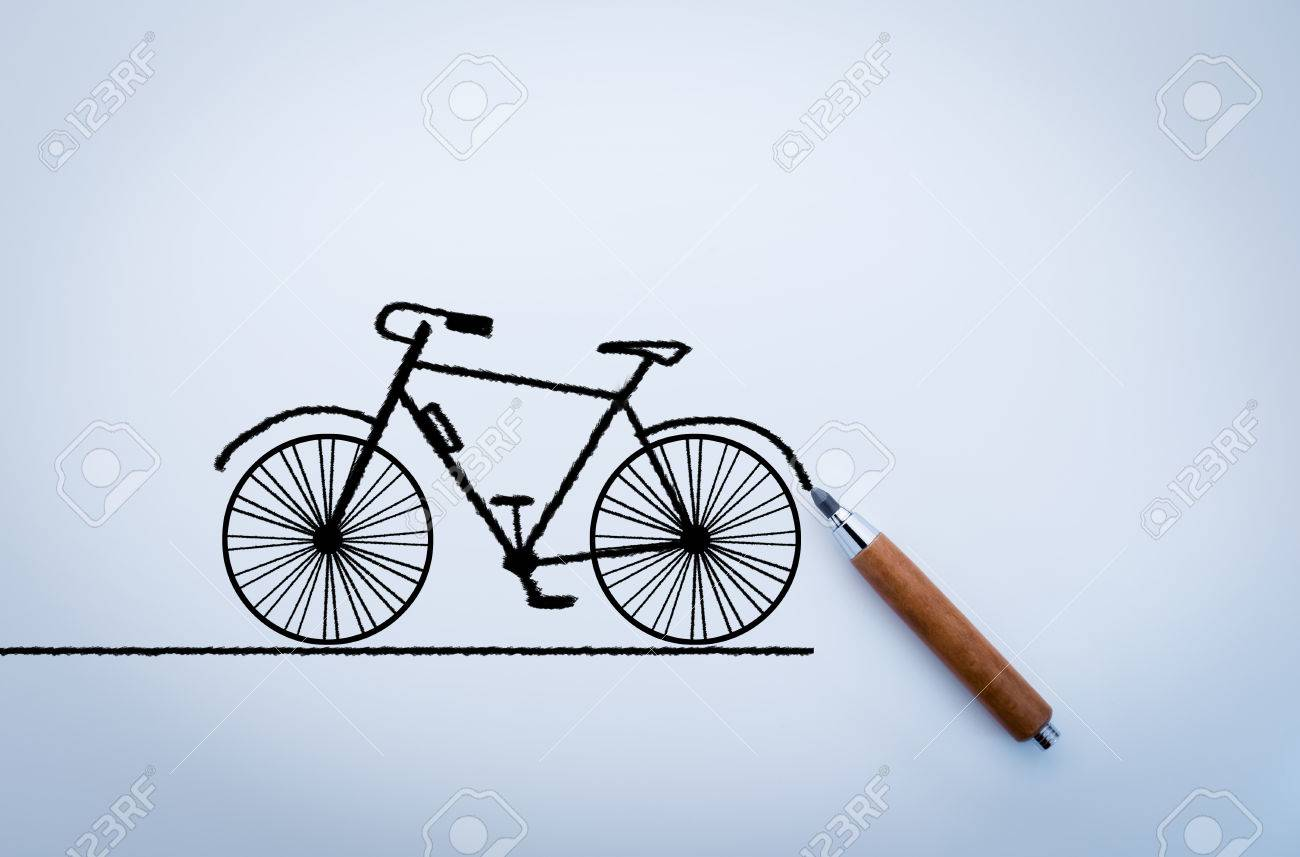 Drawing of bicycle with pencil on white background