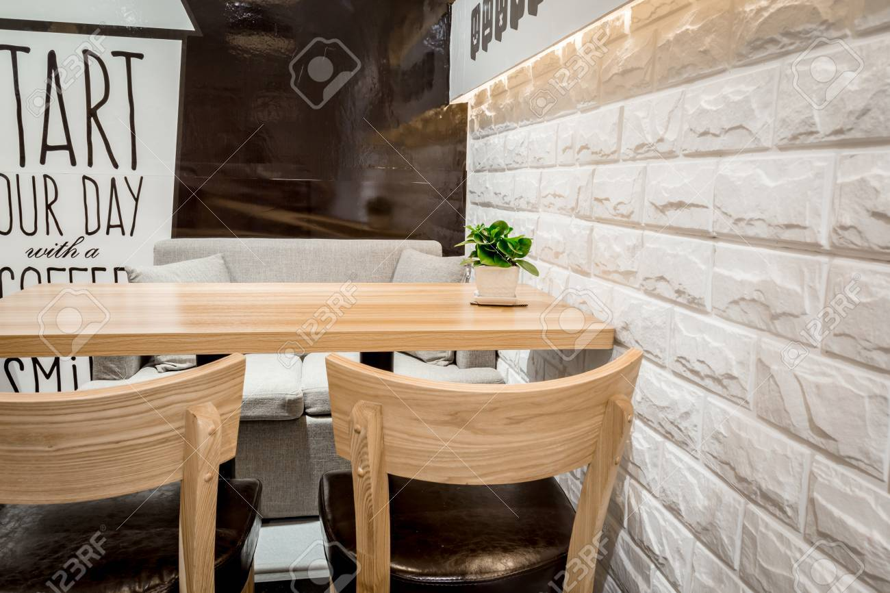 Stock Photo   Wooden Chairs In Coffee Shop Interior Design