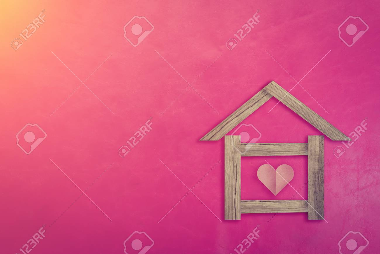 Home Sweet Home Concept With House Shape Paper Cut With Red Heart ...