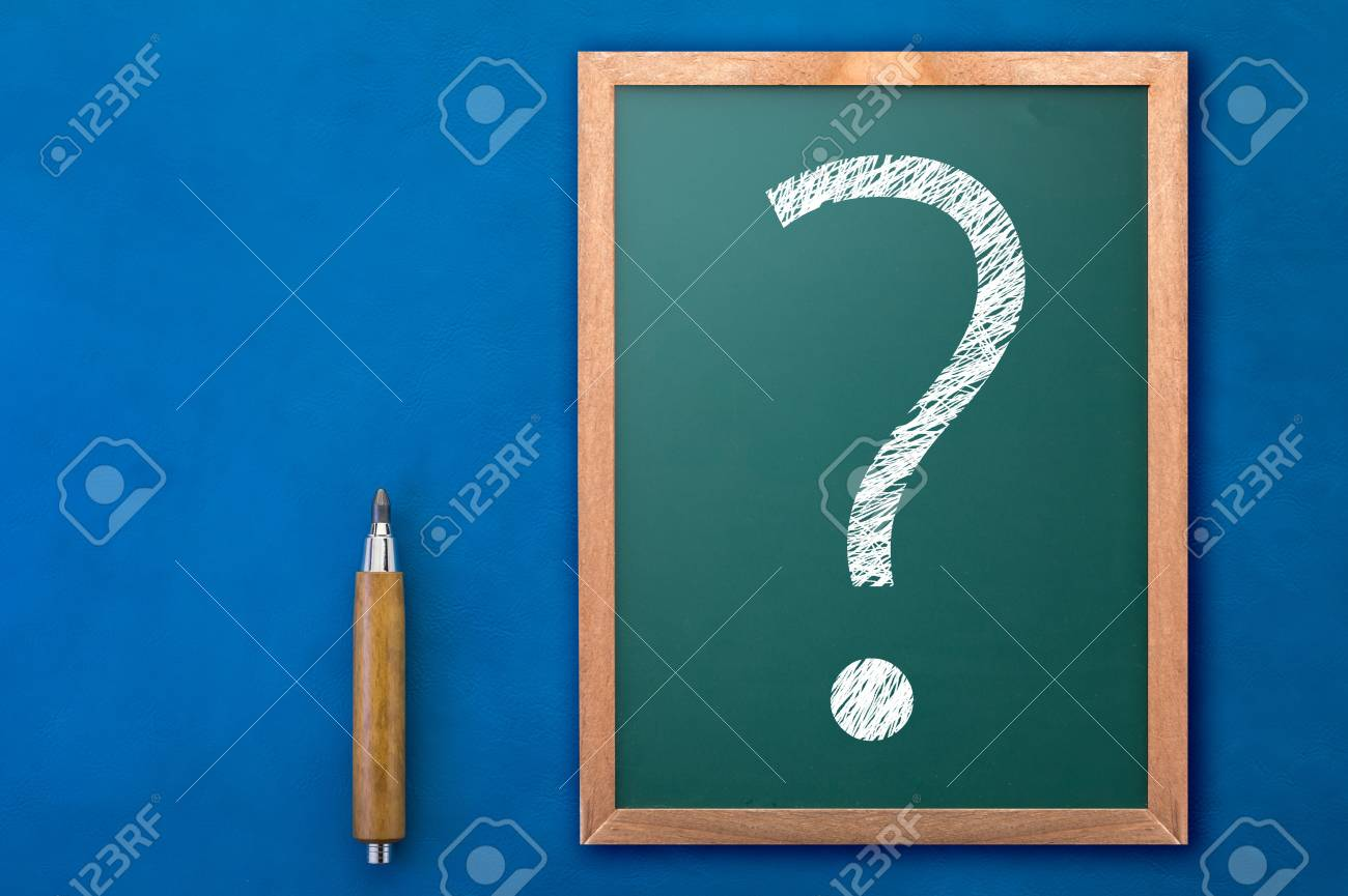 White Drawing Question Mark Icon On Chalkboard Background Business
