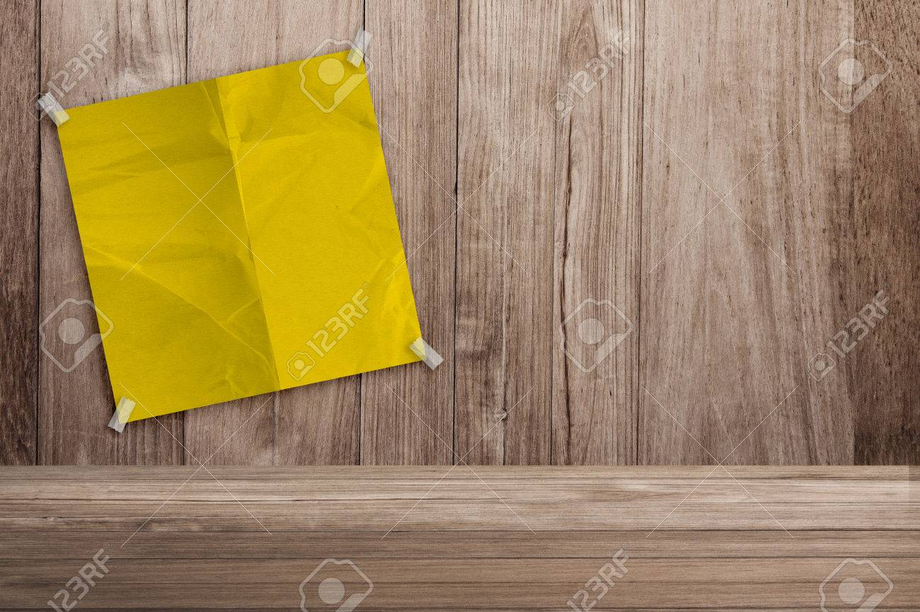 Blank Yellow Note Paper On Old Wooden Background Creativity Ideas ...