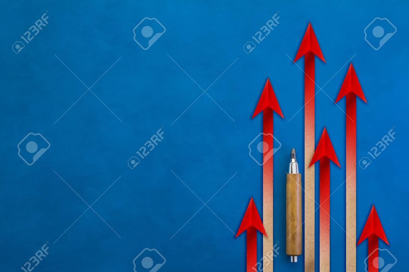 Red arrow leader Business concept. Illustrations business and sport competition on the blue background. arrow rising up with free copy space for your text - 64372286