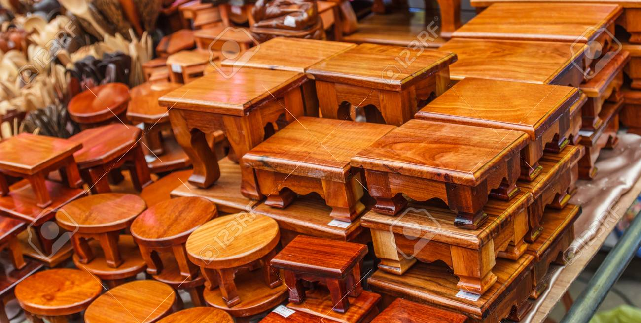 Wooden Bench Thai Style In Antique Shop For Sale