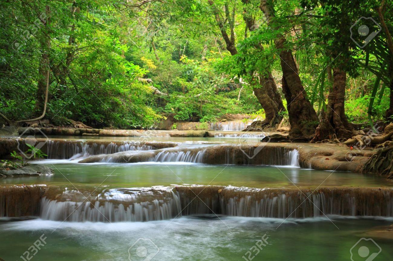 Erawan water fall, Kanchanaburi, Thailand - 8861381
