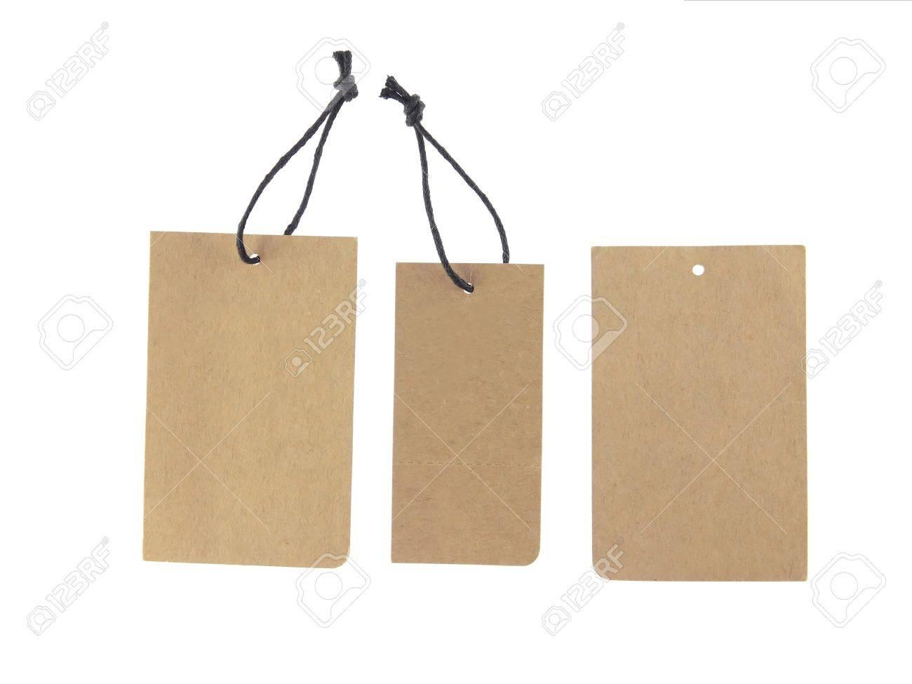 Hanging Clips: Brown Paper Tags Isolated On White Background Stock Photo