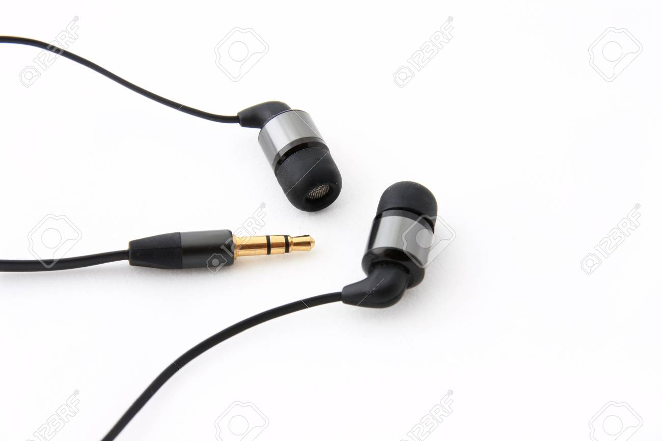 Earphones on a white background ,inear Stock Photo - 12834443