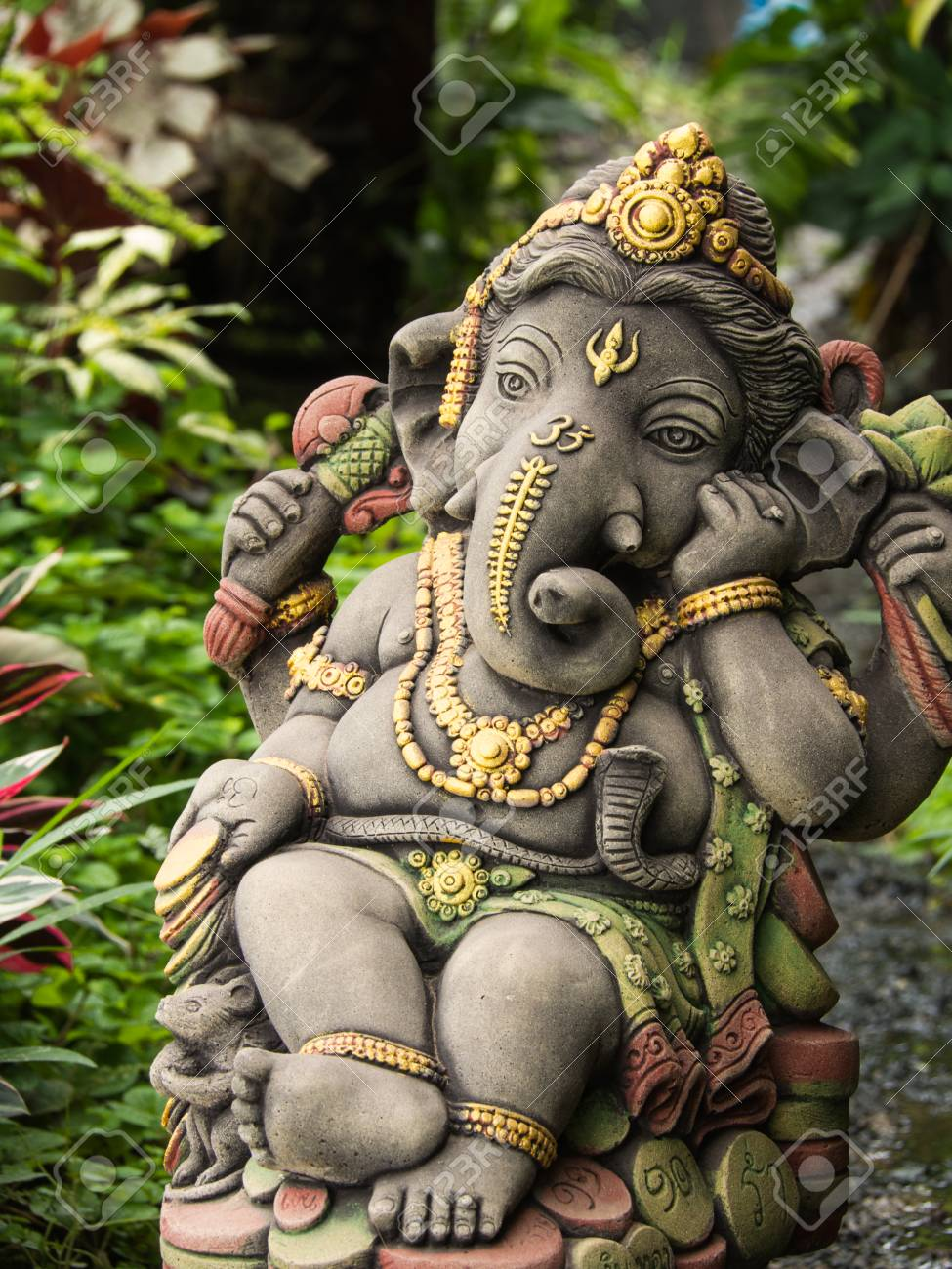 Ganesh Statue God Of Immortality , Standing In The Garden Stock Photo    84596645