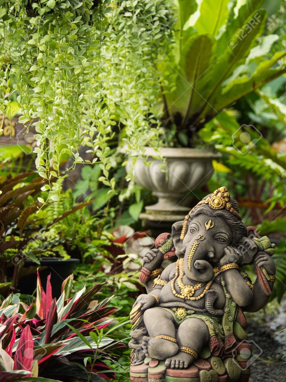 Ganesh Statue God Of Immortality , Standing In The Garden Stock Photo    84600362