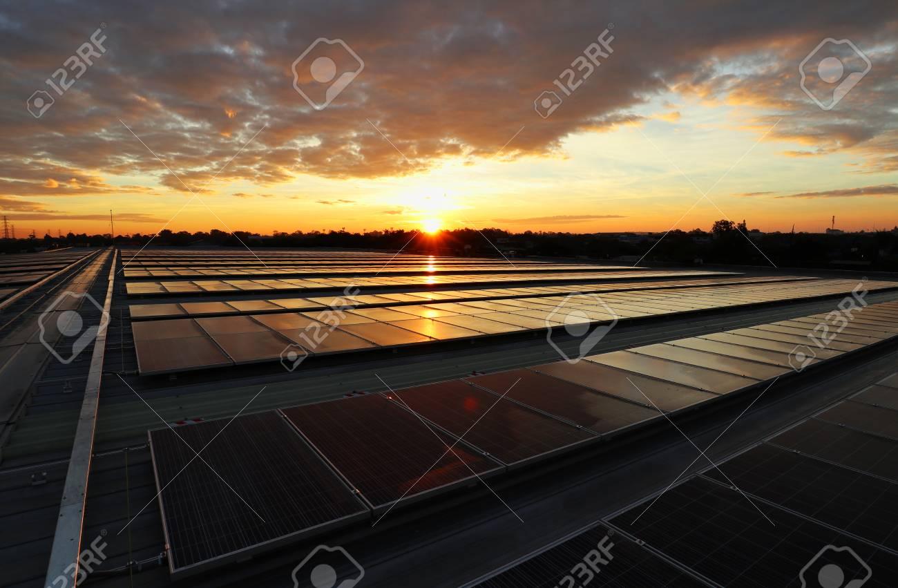 Solar PV Rooftop Sunrise Beautiful Sky - 127712466