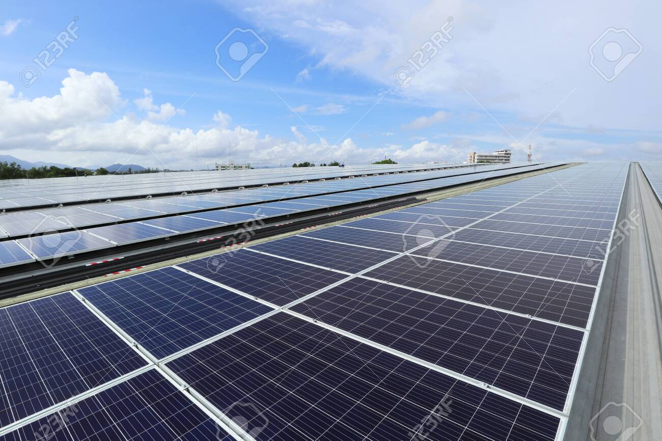 Solar PV Rooftop System Cloudy Sky Background - 135934756