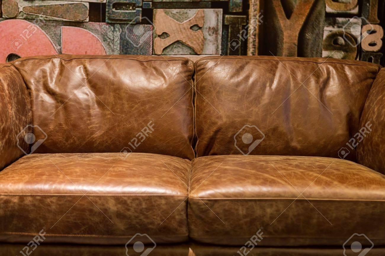 Tremendous Vintage Brown Leather Sofa In A Modern Living Room Spiritservingveterans Wood Chair Design Ideas Spiritservingveteransorg