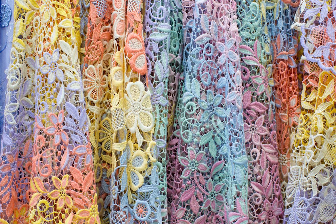 Display Of Pile Of Colorful Lace Fabric Stock Photo Picture And Royalty Free Image Image 52751841