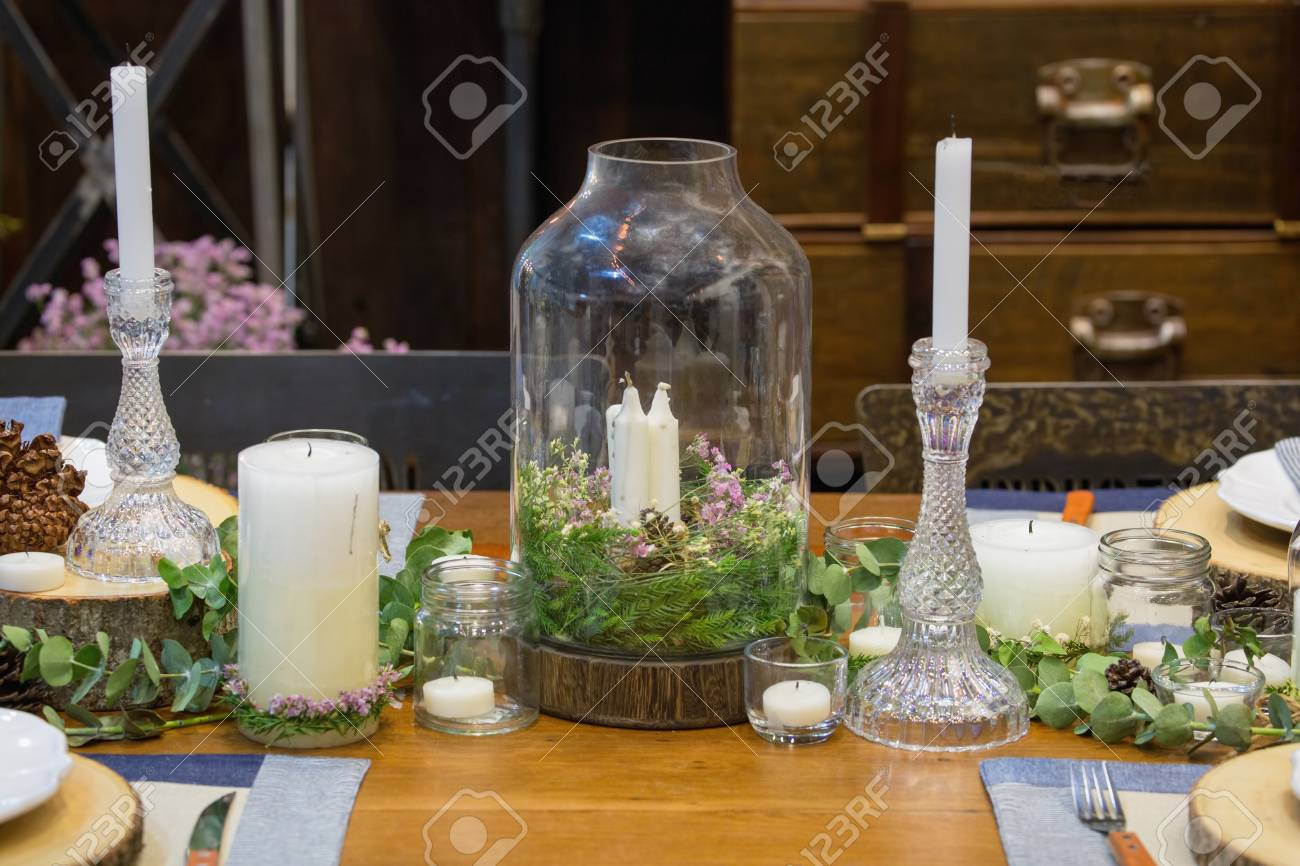 Fancy Dining Table Setting With Flower And Candles Decoration Stock Photo Picture And Royalty Free Image Image 69769296