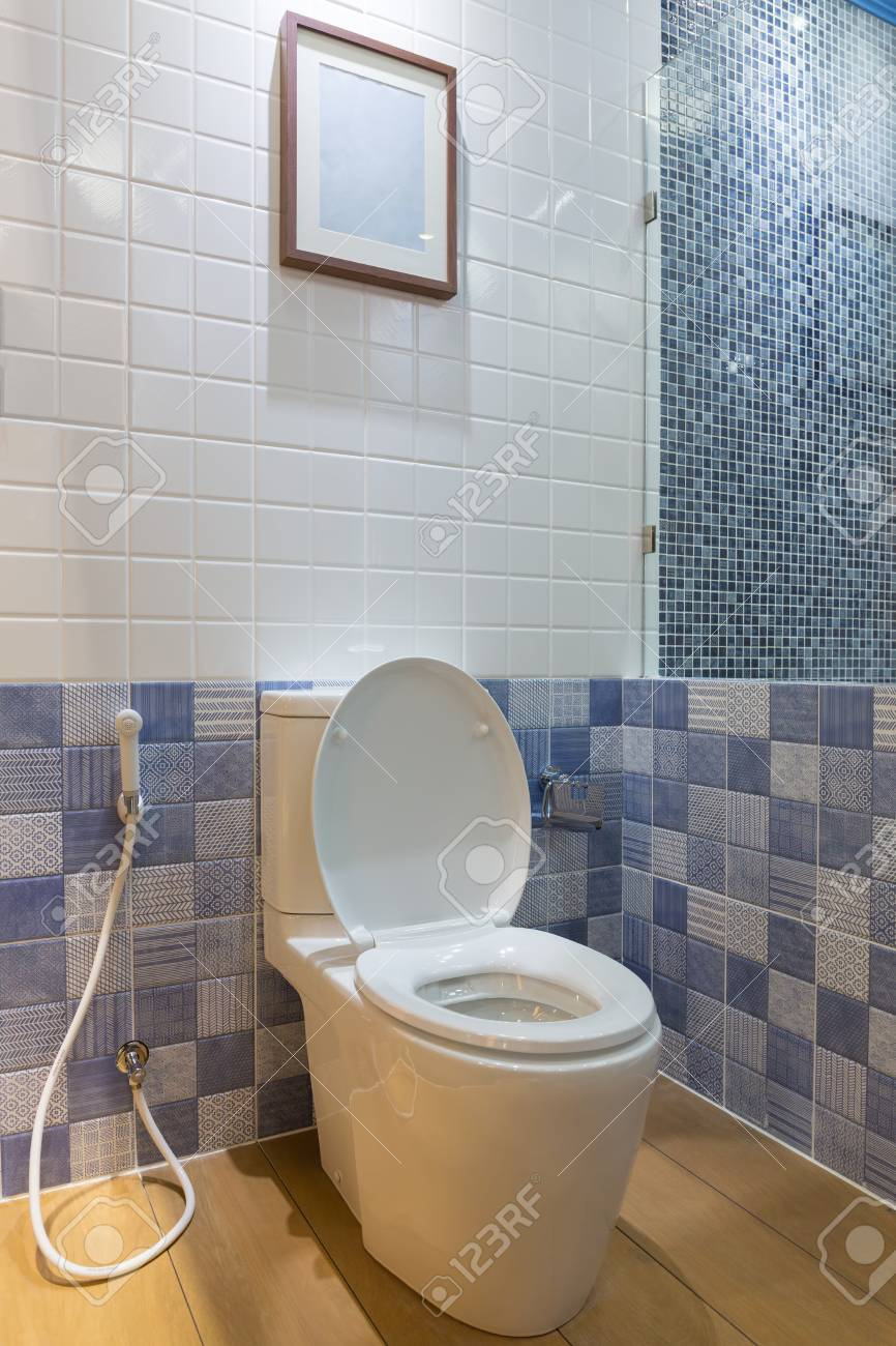 Clean And Modern Toilet Bathroom With Blue And White Wall Tiles Stock Photo Picture And Royalty Free Image Image 70200775