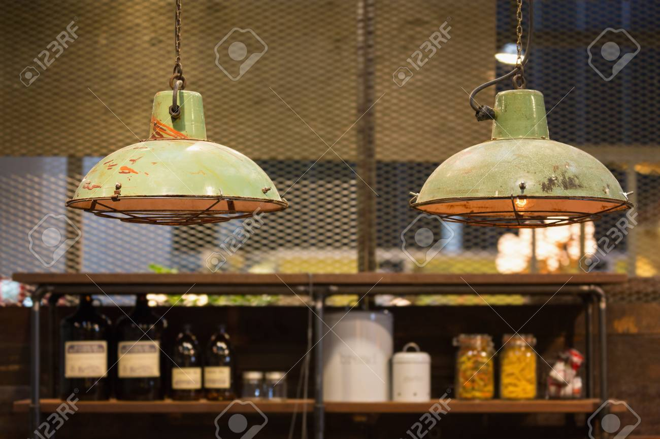 industrial loft lighting. Industrial Style Vintage Factory Hanging Lamps Decorated In A Loft Room. Stock Photo Lighting E