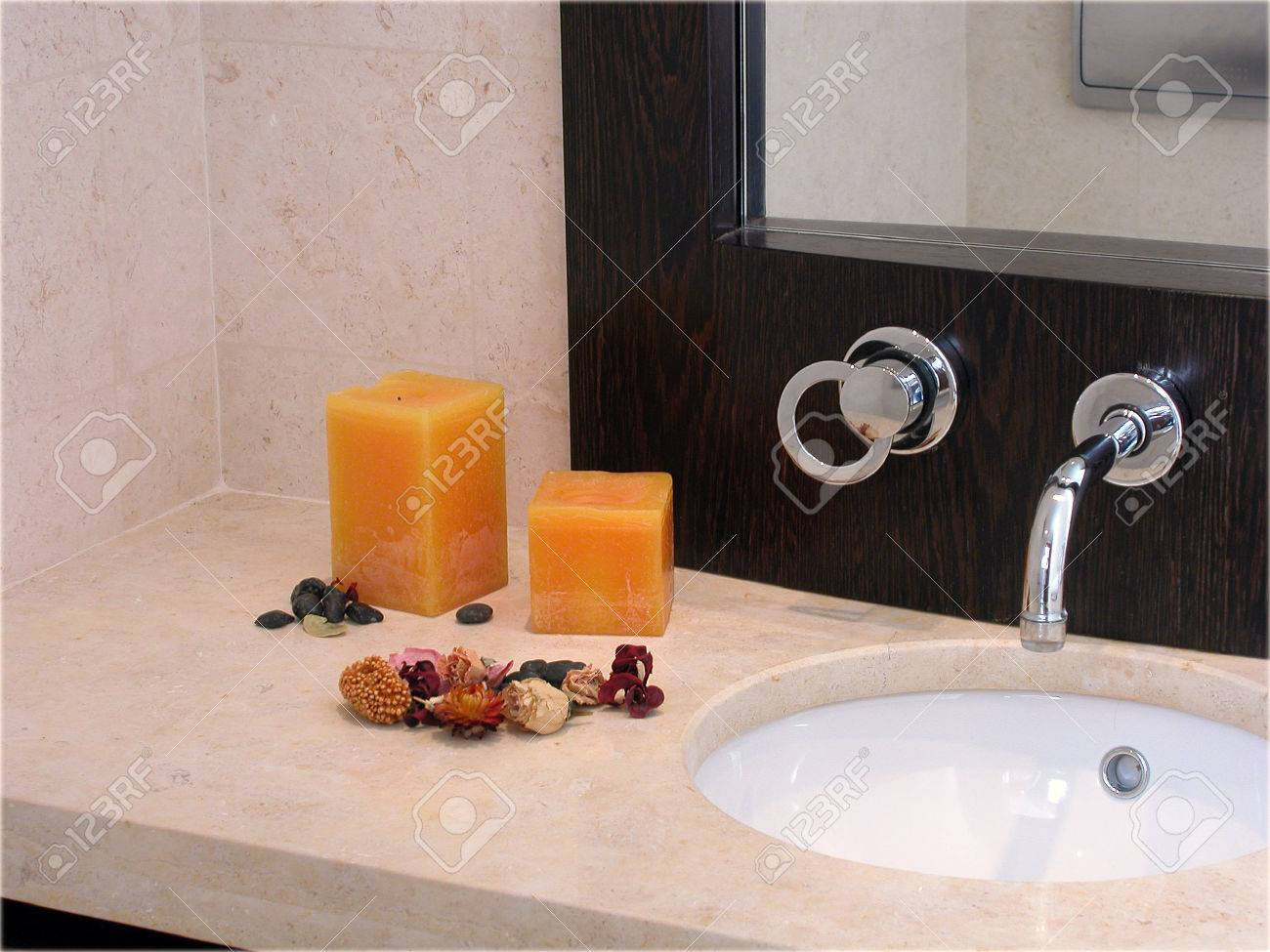 Stylish Bathroom With Candles And Potpourri Stock Photo Picture - Candles for bathroom