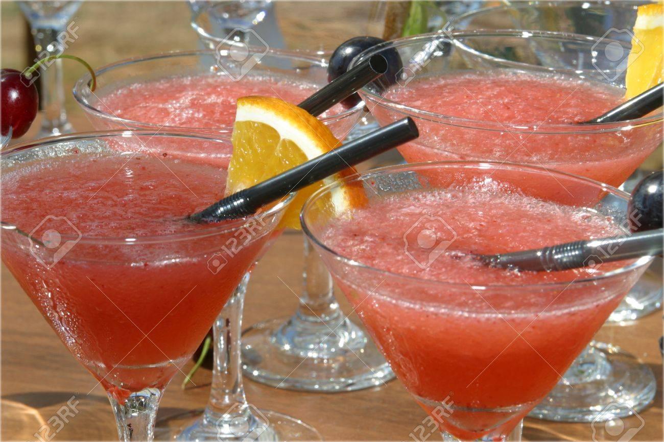 Ice cold watermelon margaritas in martini glasses - 1447735