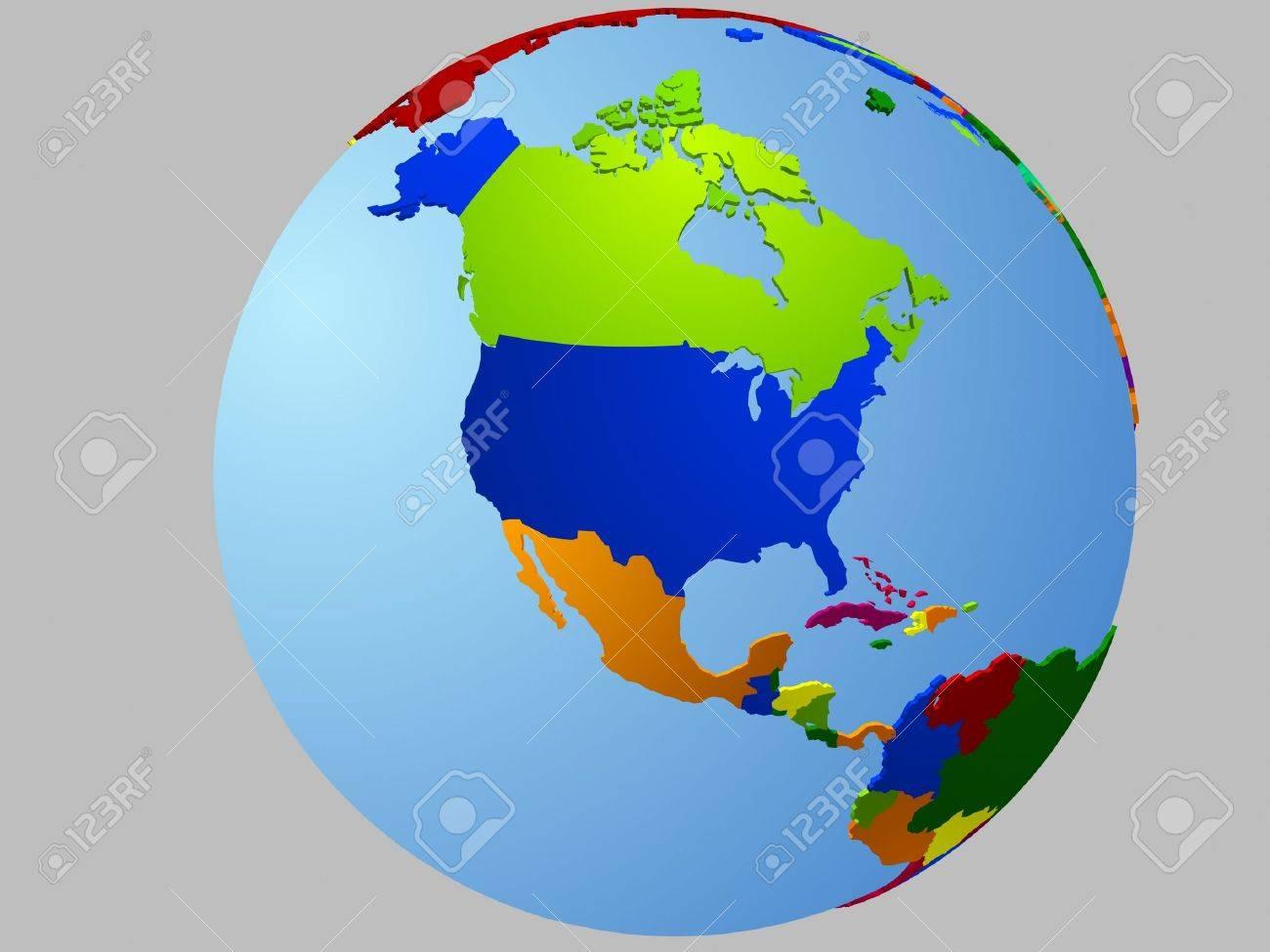 North America globe Stock Vector - 6176326