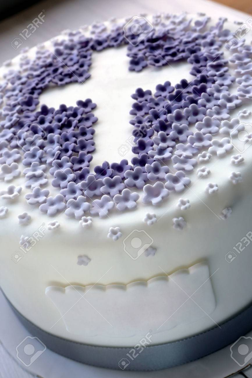Cake For The First Holy Communion With Cross And Space Name Text Stock Photo