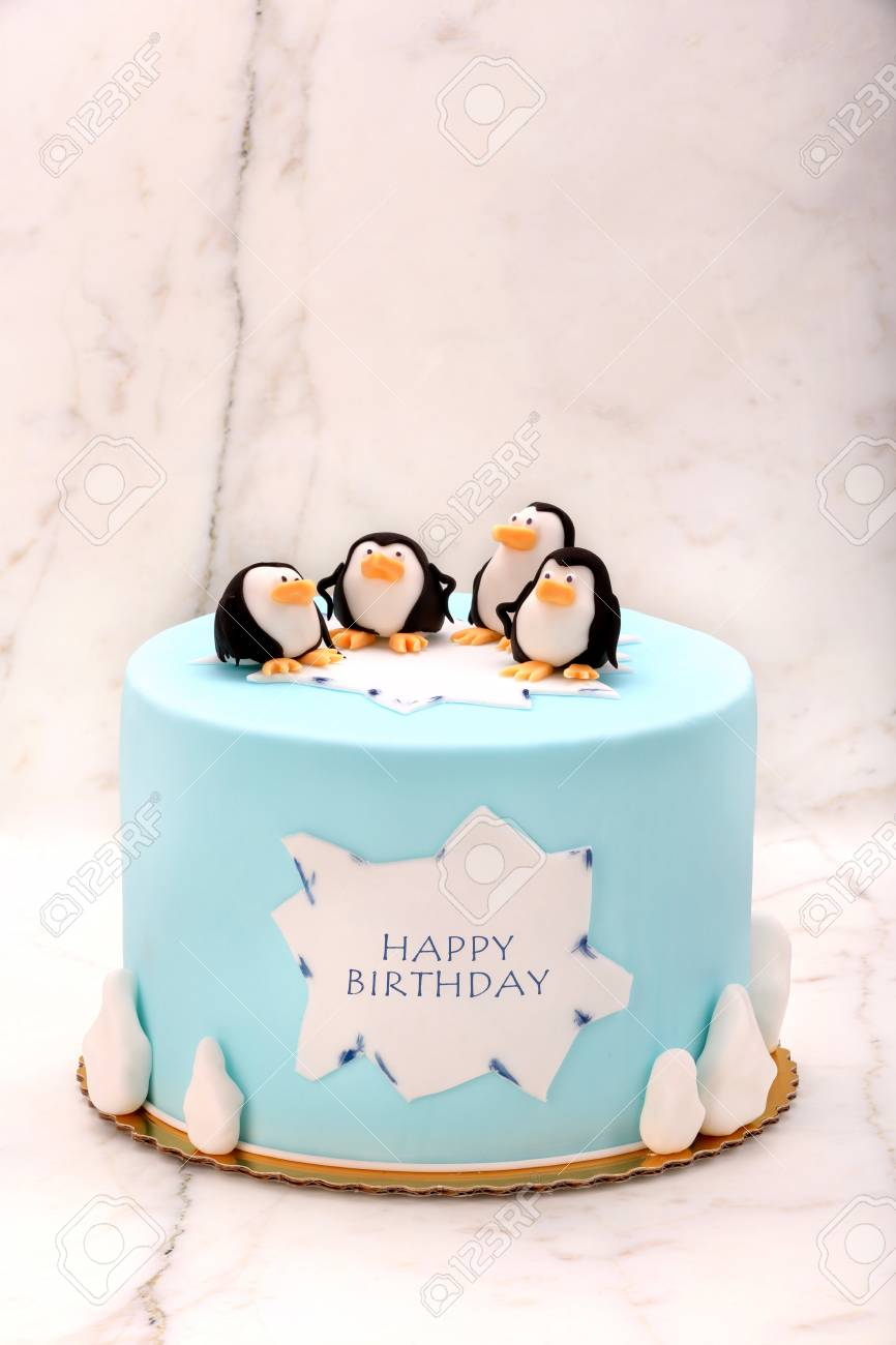 Brilliant Birthday Cake With Penguins On The Stone Background And Blank Funny Birthday Cards Online Alyptdamsfinfo