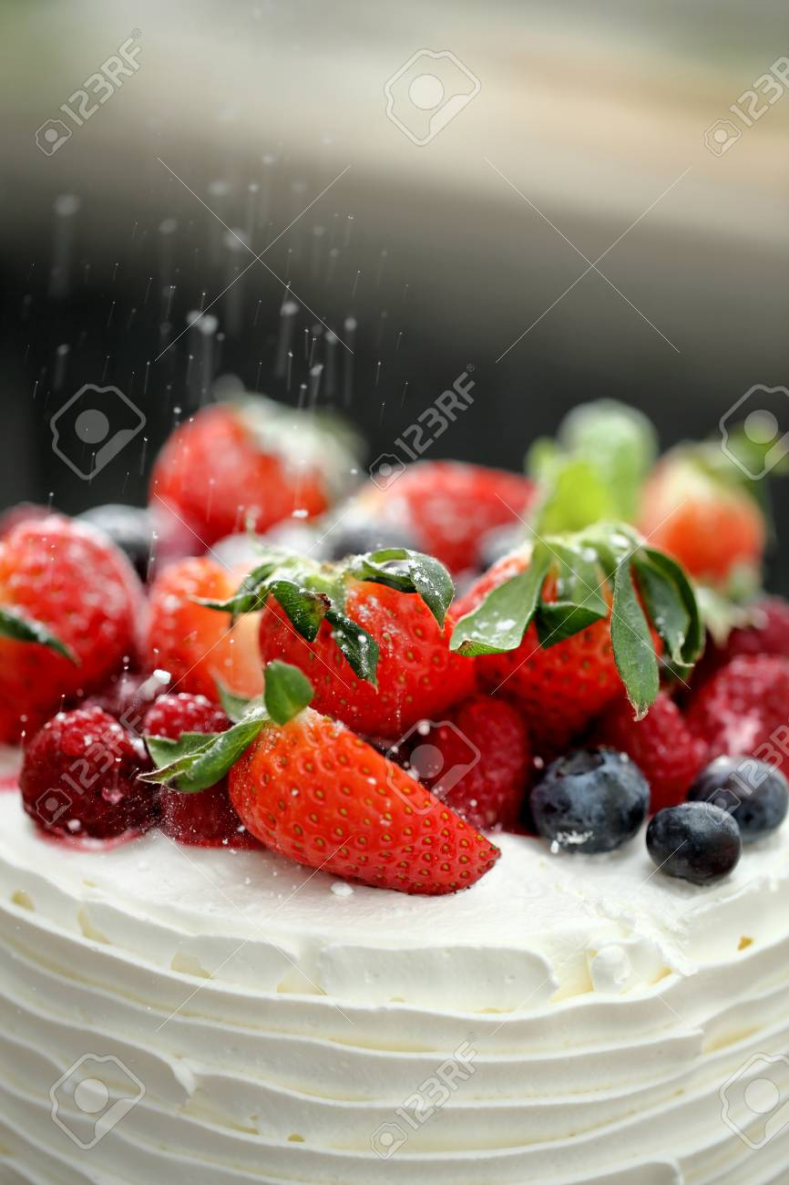 Decoration Naked Wedding Cake With Fruits And Berries Stock Photo