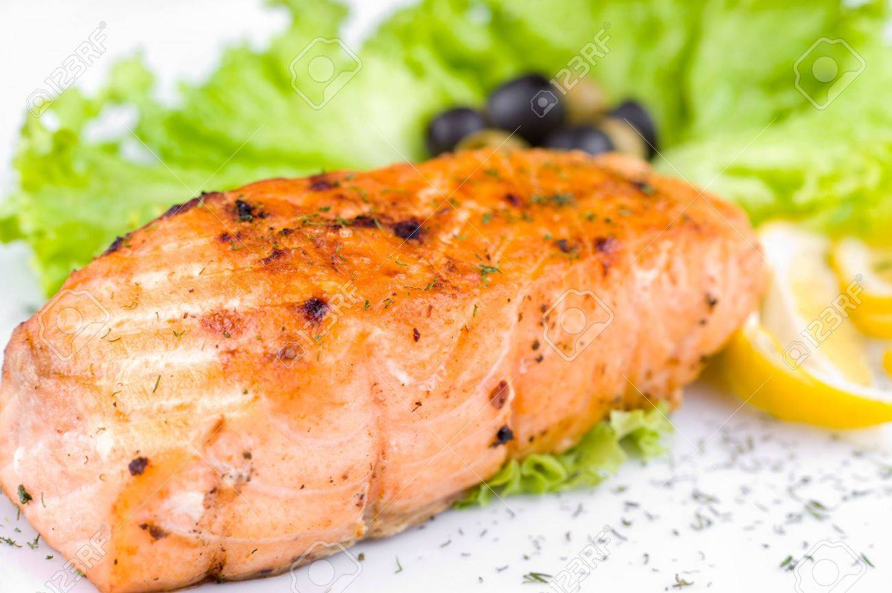 a big piece of grilled salmon, macro Stock Photo - 7638972