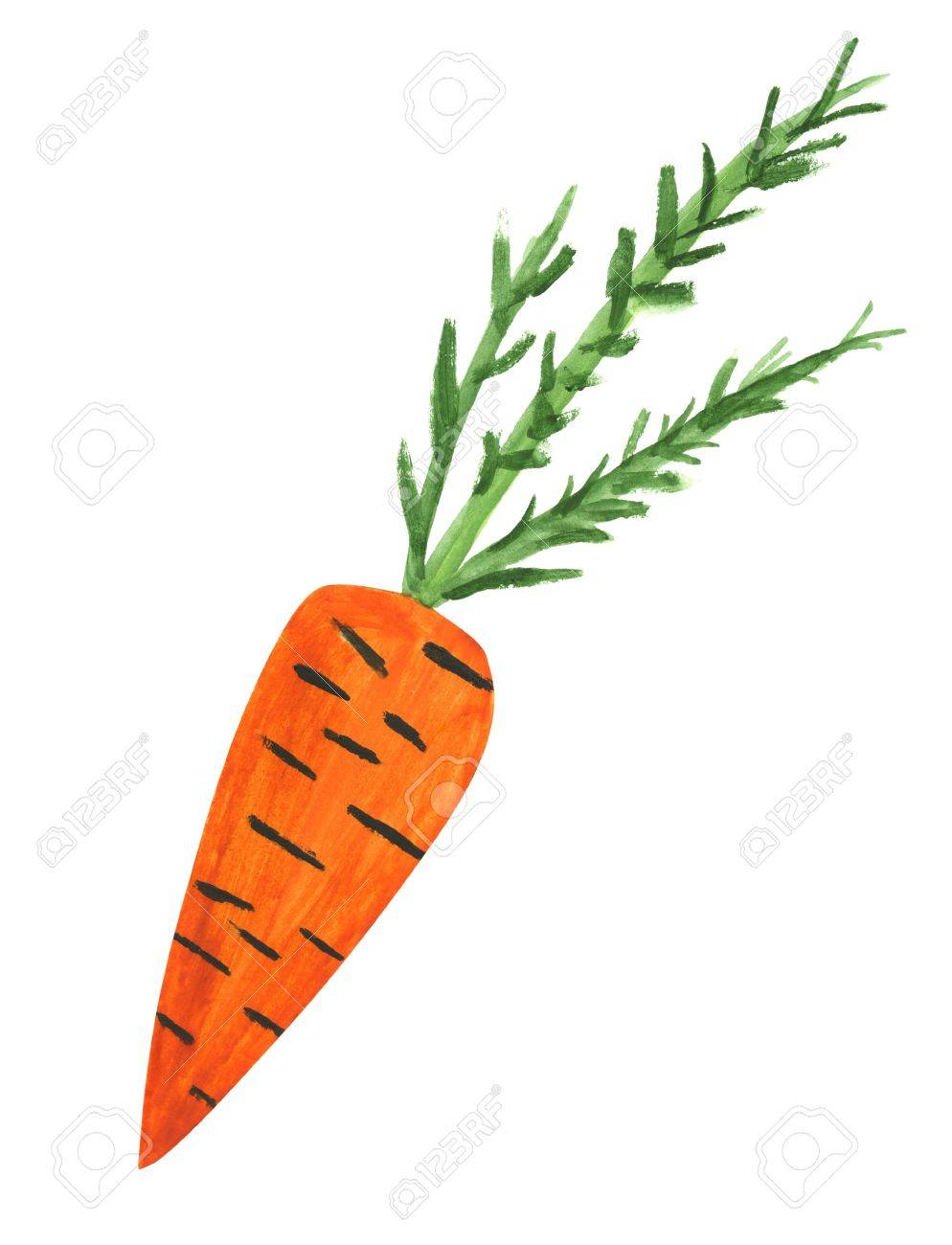 A Child Drawing Of A A Carrot Painted Then Scanned Stock Photo