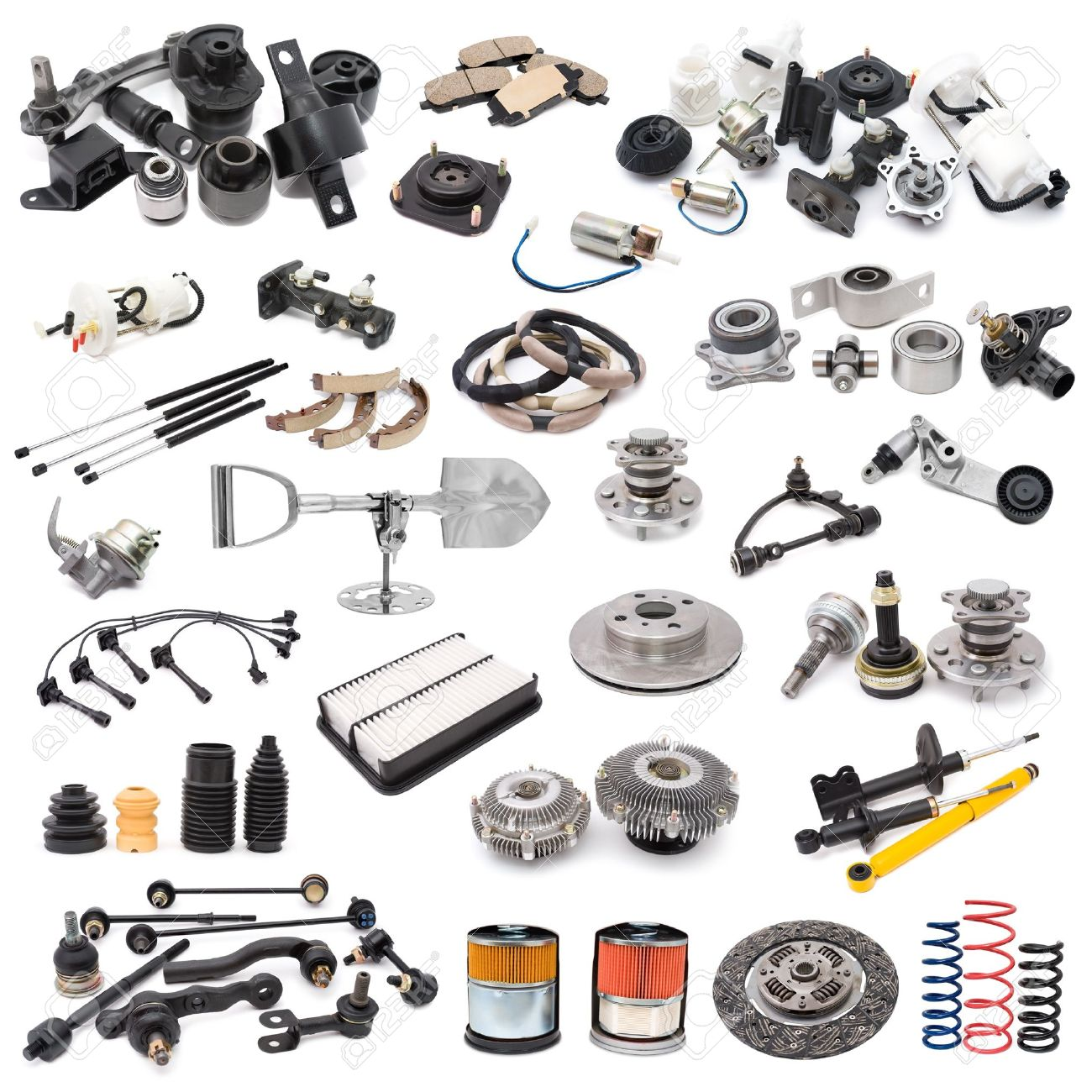a lot of auto spare parts, over white Stock Photo - 8286024