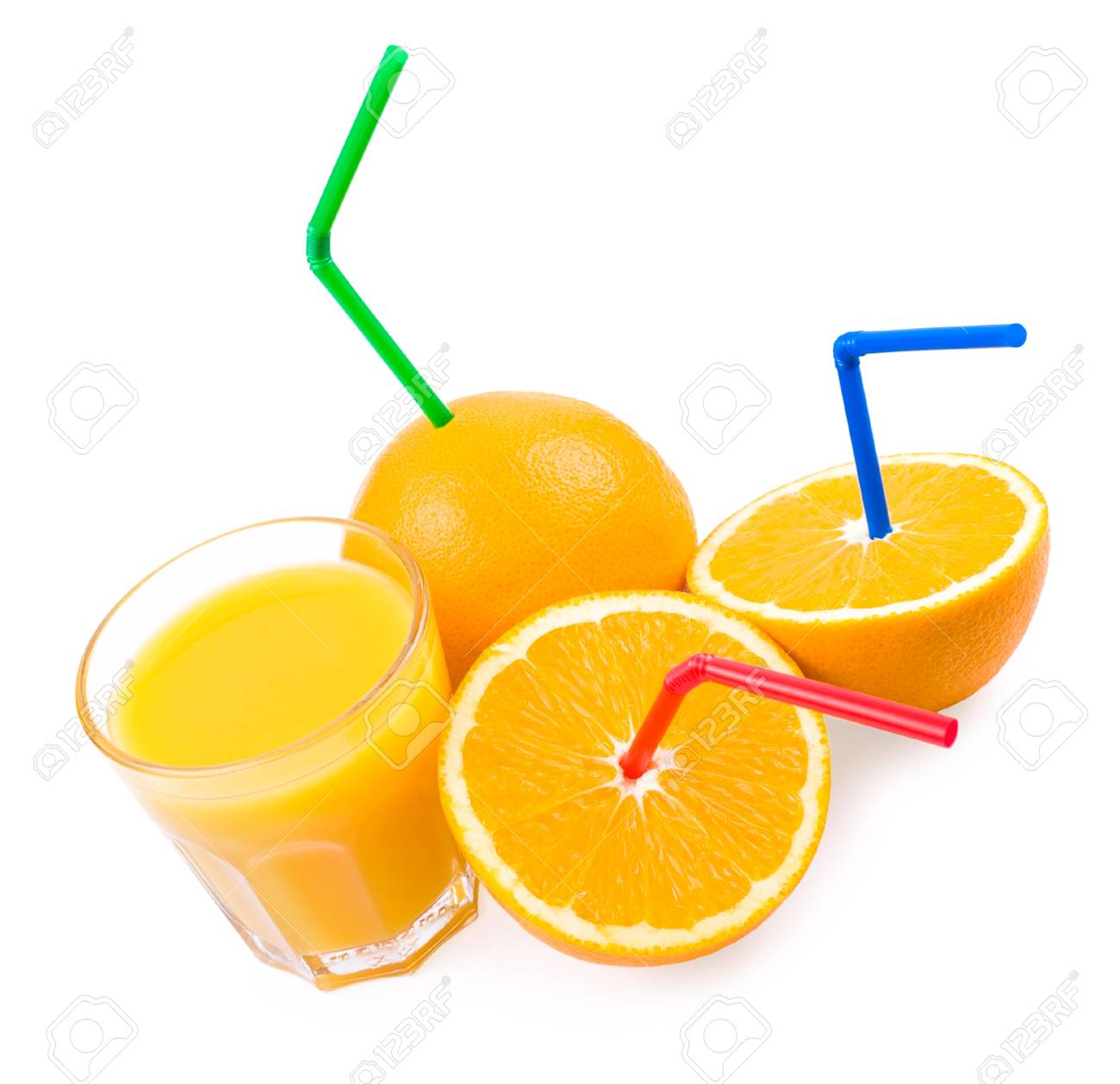 oranges with straws and a glass with orange juice Stock Photo - 8286022