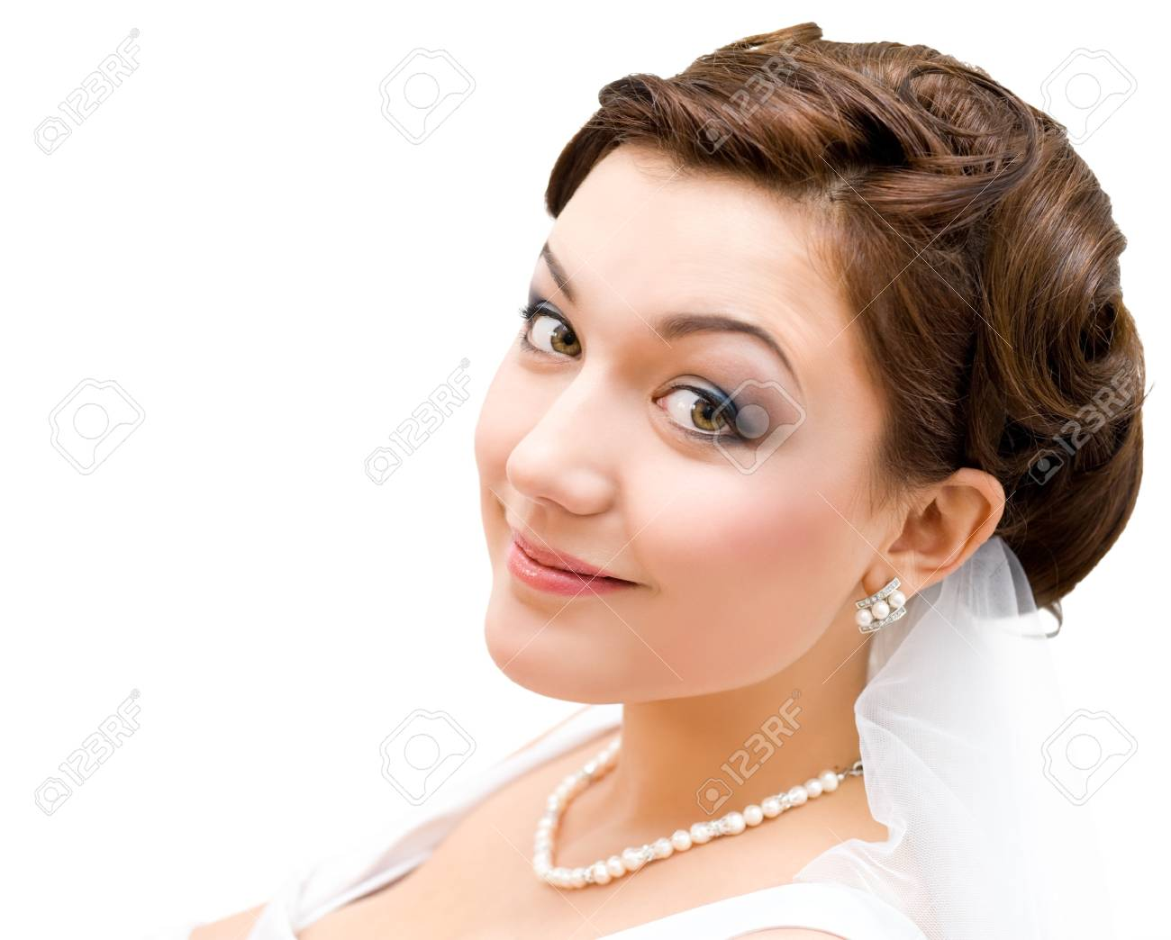 young charming bride looks into camera, isolated, closeup Stock Photo - 8434974