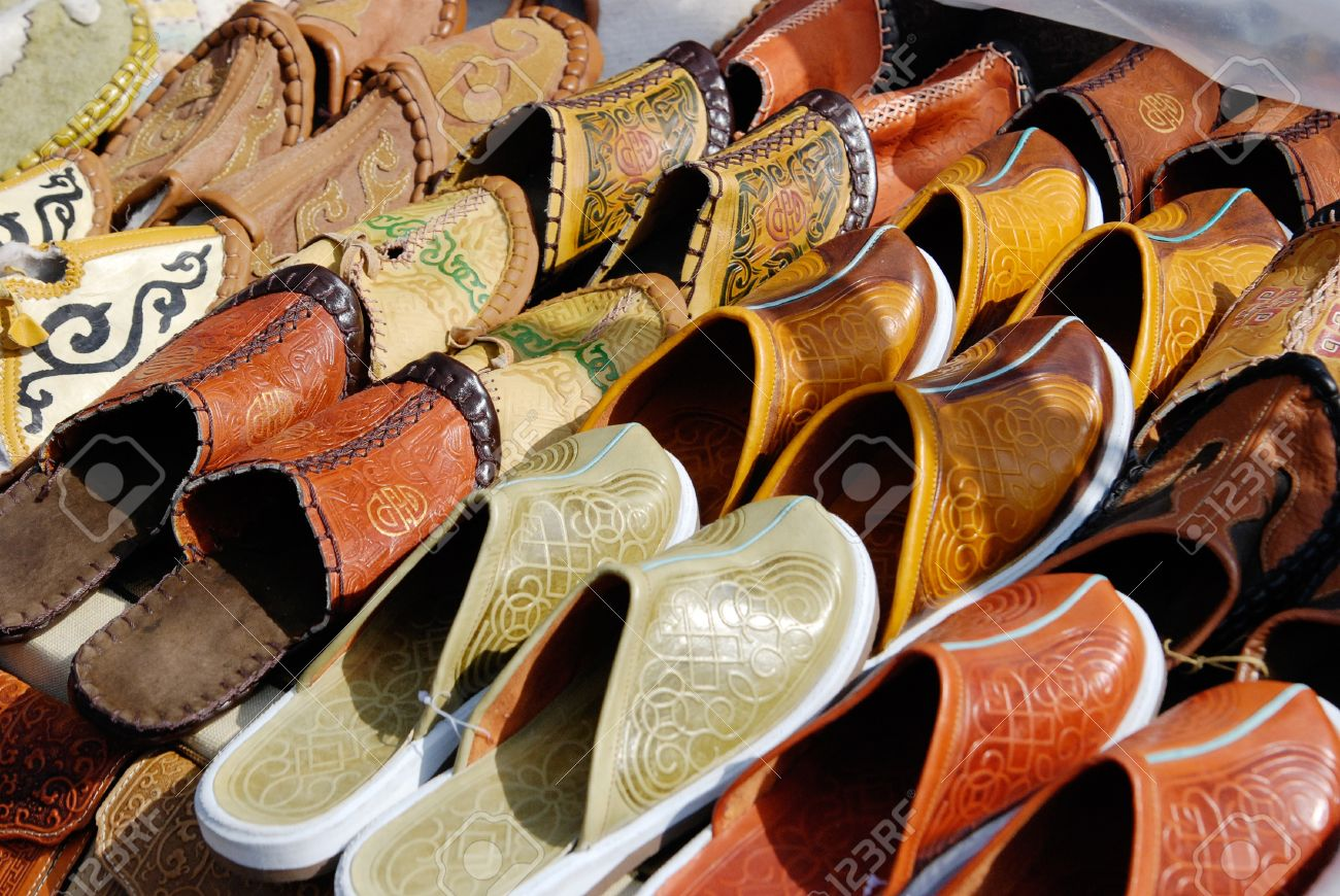 a lot of various Mongolian leather slippers for sale - 9061403