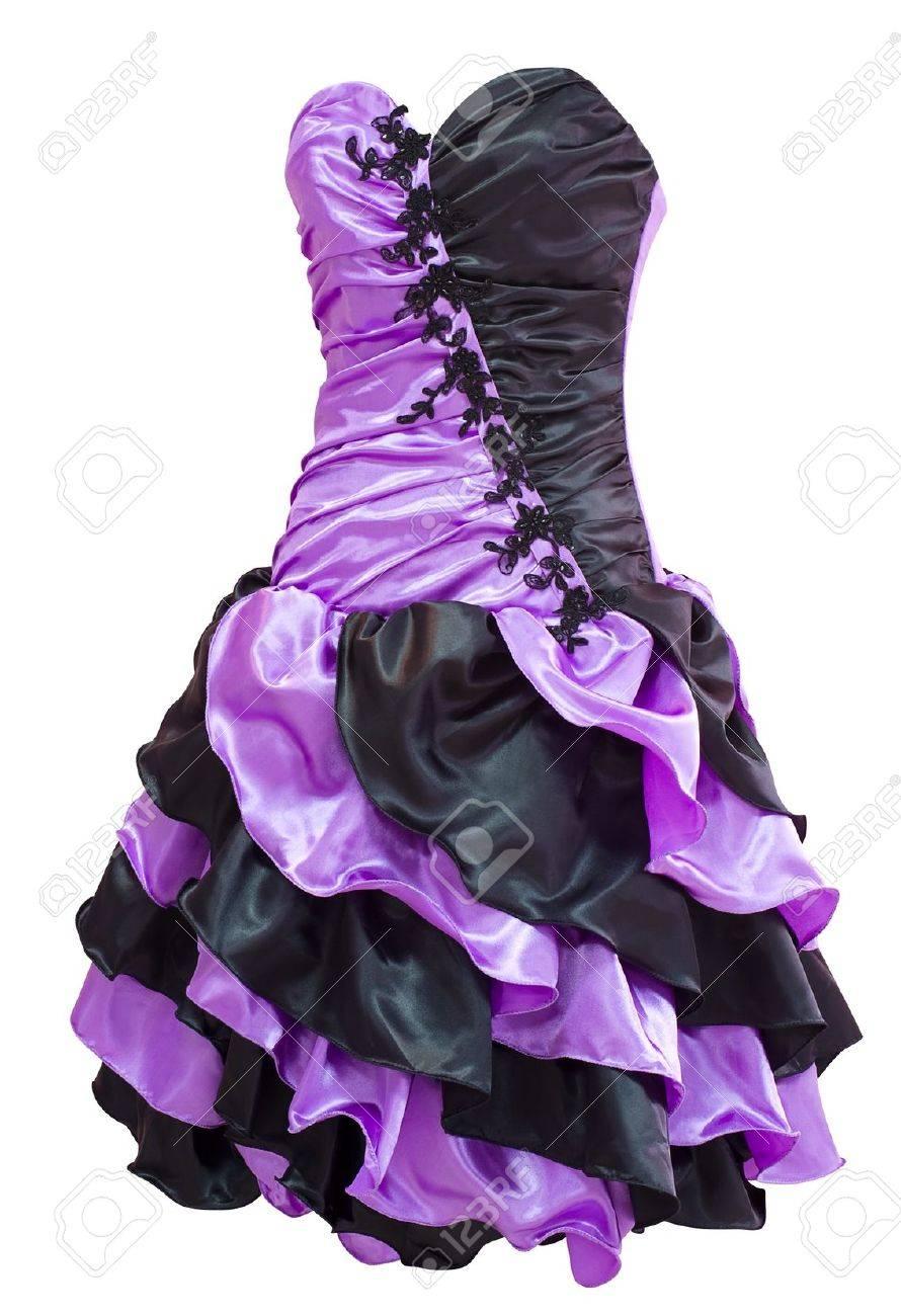 Un Damas Violeta Y Cóctel Negro Vestido Con Flecos Diagonales ...