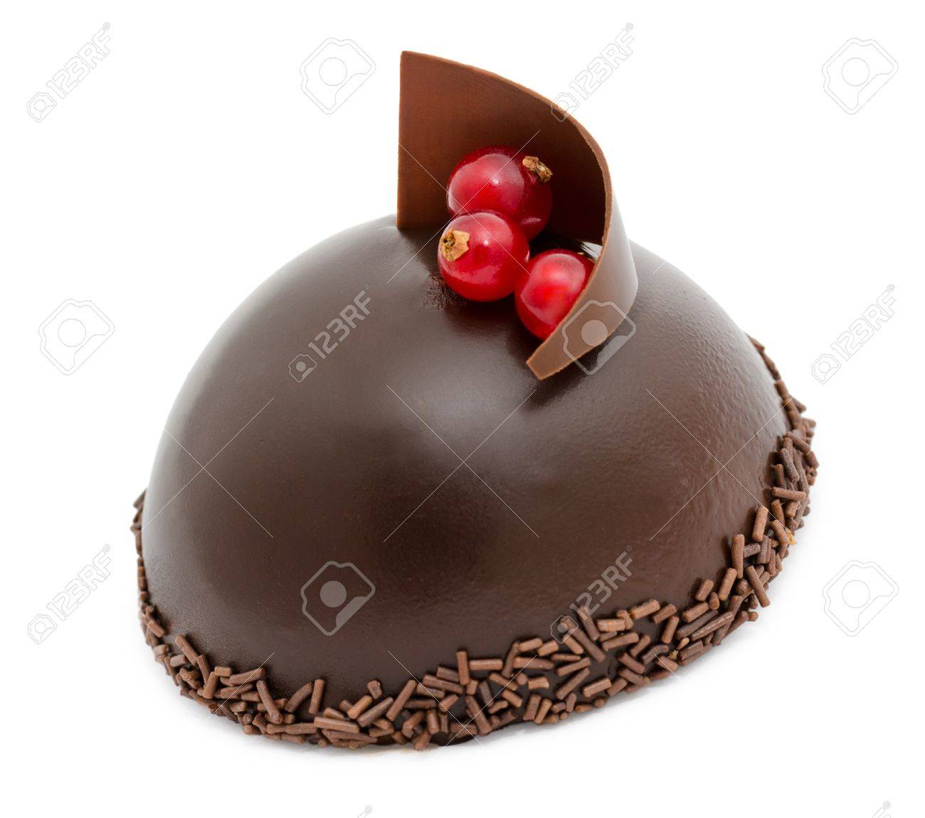 a fresh chocolate cake, over white background Stock Photo - 13609319