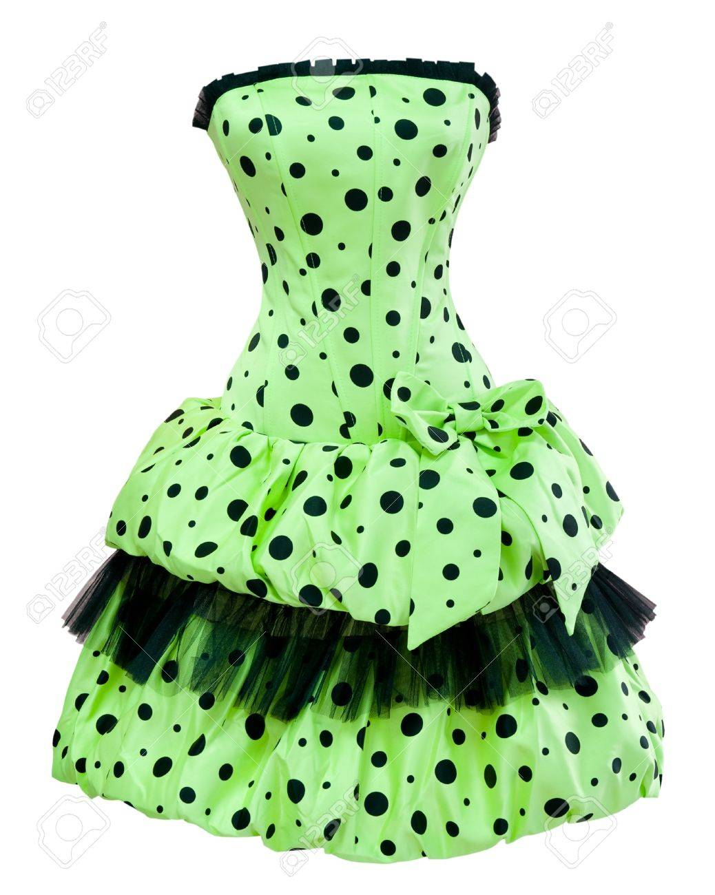 A Ladies Green Polka Dot Cocktail Dress With A Balloon Skirt ...