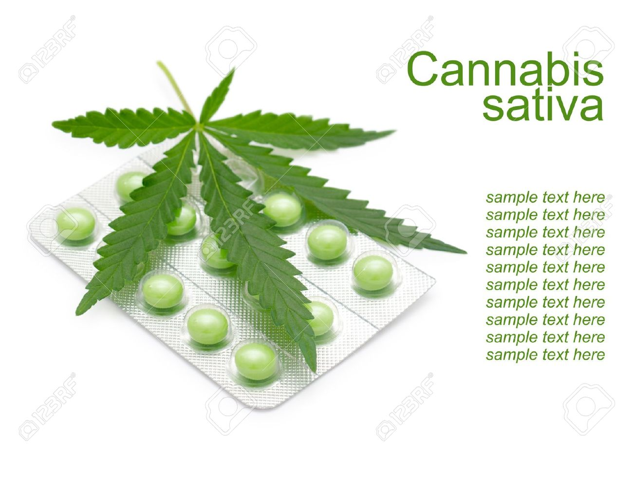 a leaf of marijuana  Cannabis sativa  on a blister with green drugs Stock Photo - 14399509