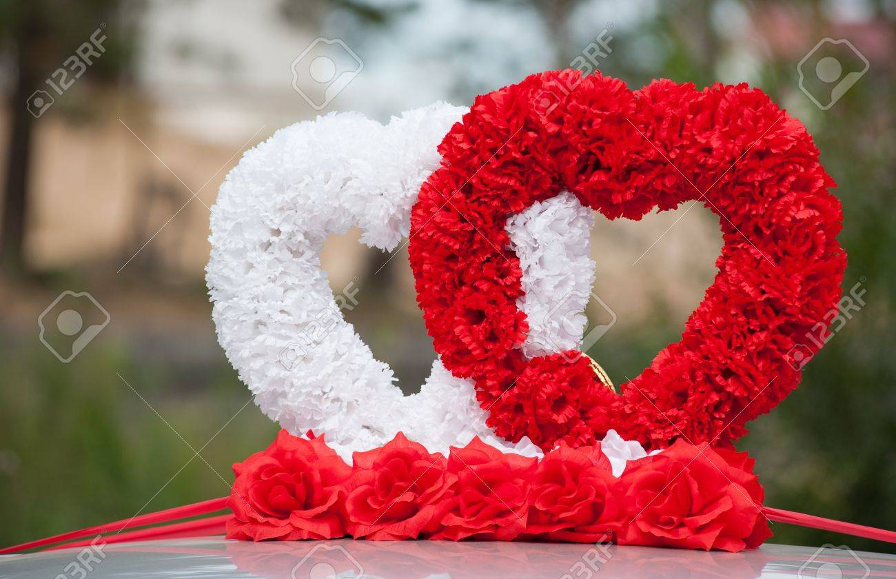 Car wedding decoration two hearts of fabric flowers stock photo car wedding decoration two hearts of fabric flowers stock photo 15191695 junglespirit Gallery