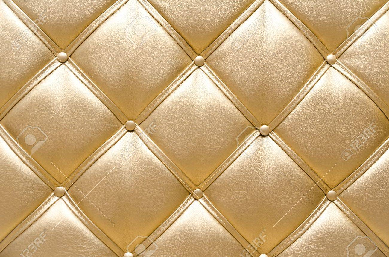 golden leather upholstery, a closeup shot Stock Photo - 16842178