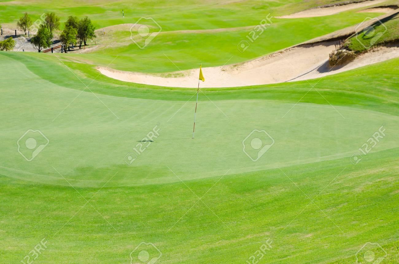 green grassy golf field on sunny day Stock Photo - 19382638
