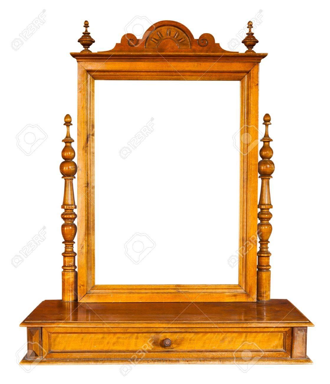 Spiegel Voor Op Kaptafel.Vintage Houten Spiegel En Een Kaptafel Geisoleerde Royalty Vrije
