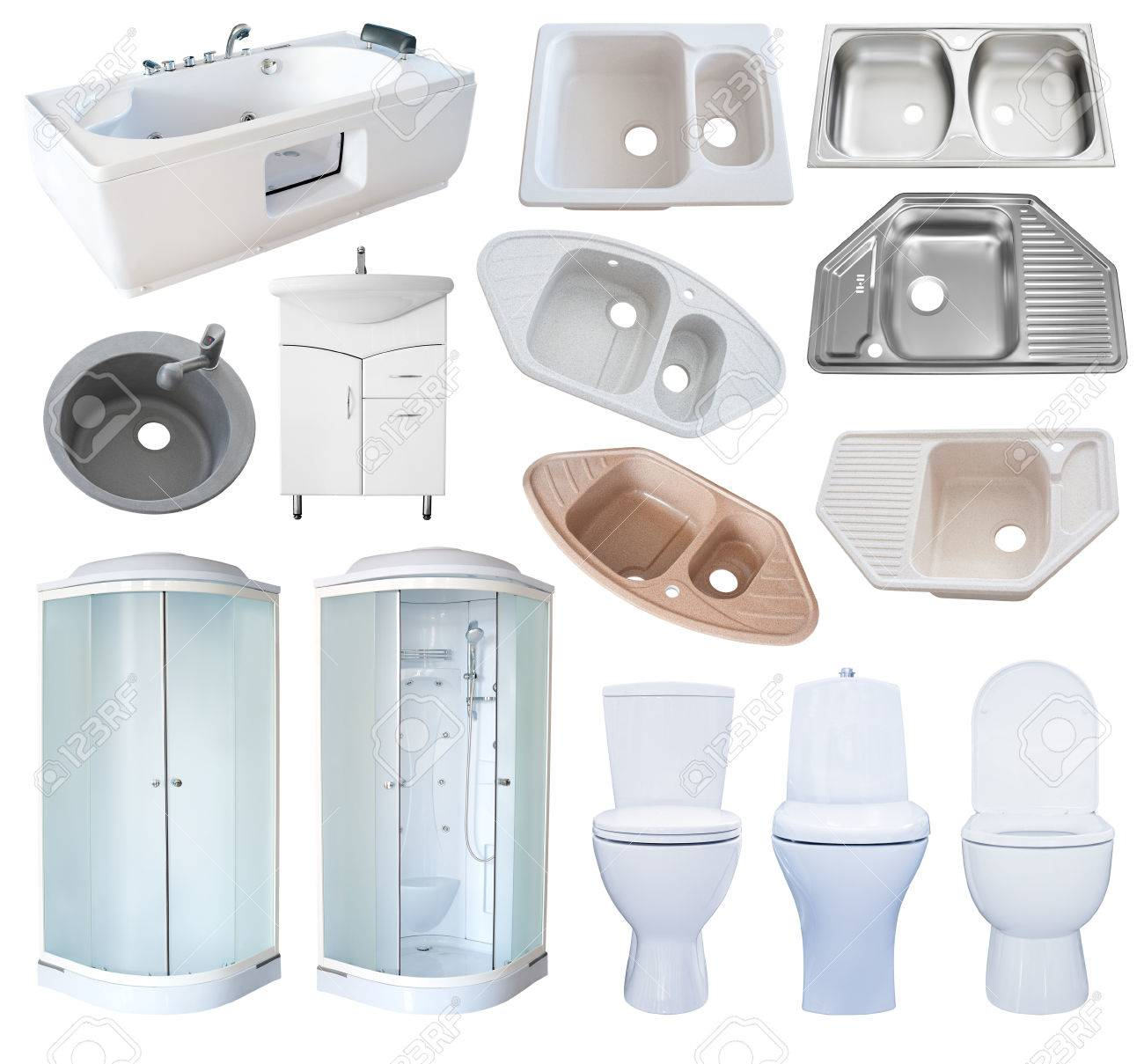 Genial A Set Of New Bathroom Equipment (sanitaryware), Isolated Over White Stock  Photo