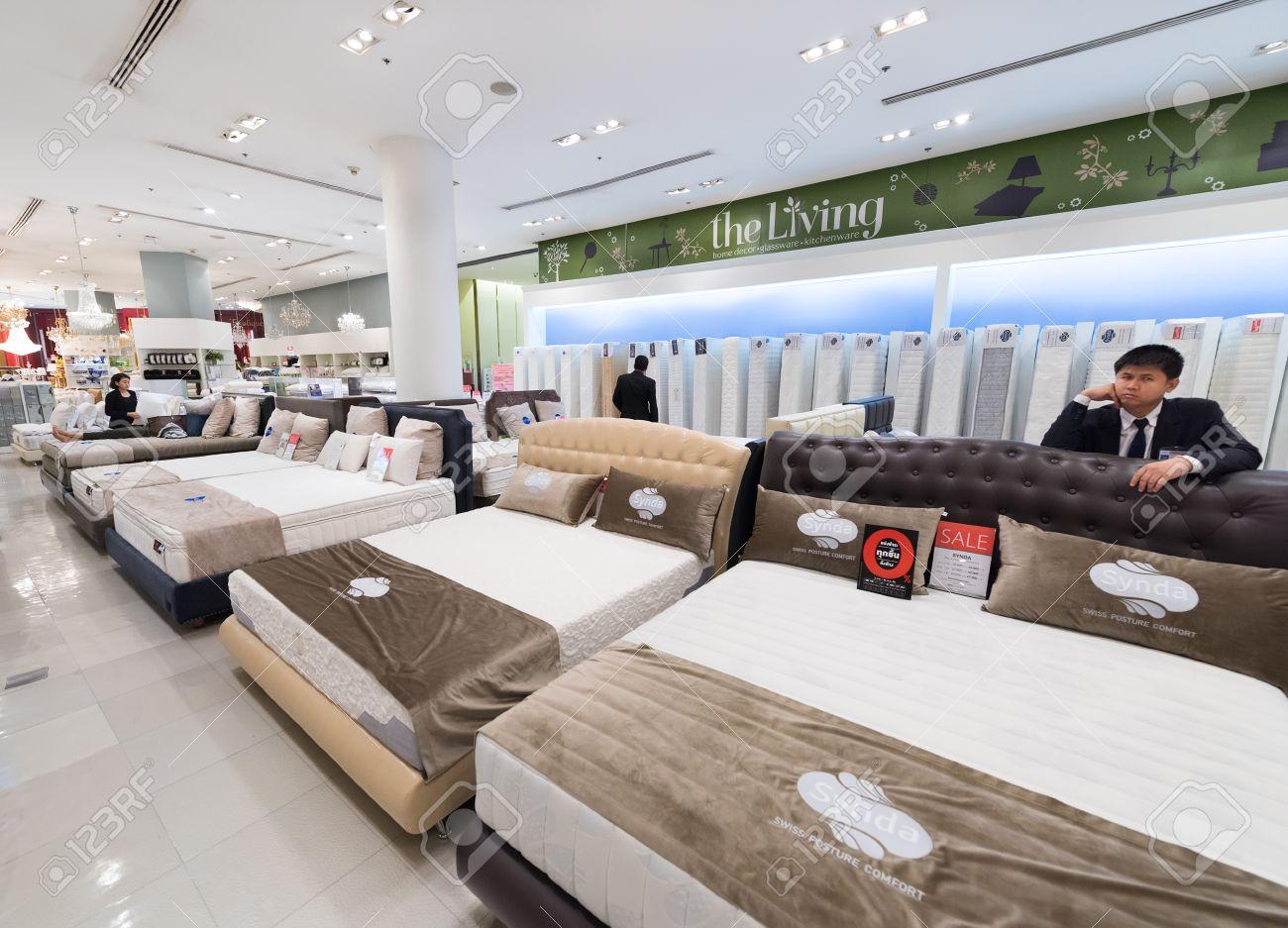 BANGKOK - MARCH 17, 2016: Various mattresses and pillows at a..